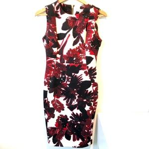 Calvin Klein | red flowery sleeveless sheath dress